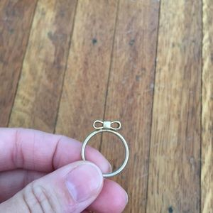 Anthropologie gold bow ring